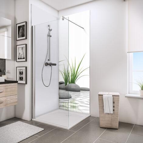 Lot de 2 panneaux muraux 90 x 210 cm + 3 profilés, revêtement pour douche et salle de bain, 1 DécoDesign PHOTO + 1 blanc, Schulte, différents décors au choix