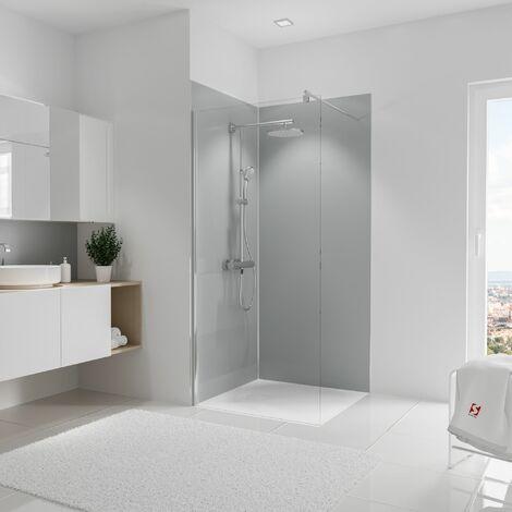Lot de 2 panneaux muraux 90 x 210 cm + 3 profilés, revêtement pour douche et salle de bains, DécoDesign COULEUR, Schulte, Gris clair