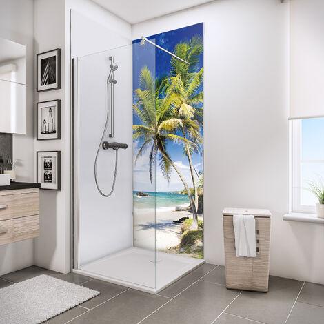 Lot de 2 panneaux muraux 90 x 210 cm + 3 profilés, revêtement pour douche et salle de bains, DécoDesign PHOTO, Schulte, Manhattan (blanc/noir) + panneau blanc