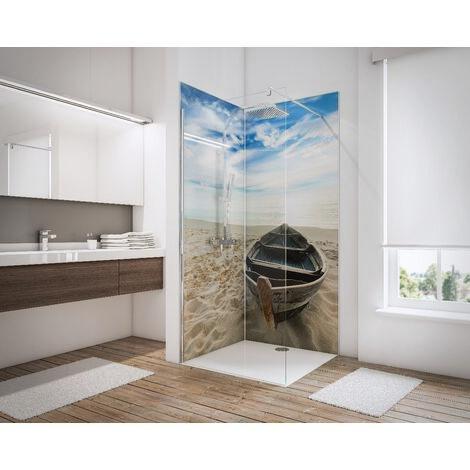 Lot de 2 panneaux muraux 90 x 210 cm, revêtement pour douche et salle de bains, DécoDesign PHOTO, Schulte, Pierres zen et herbes