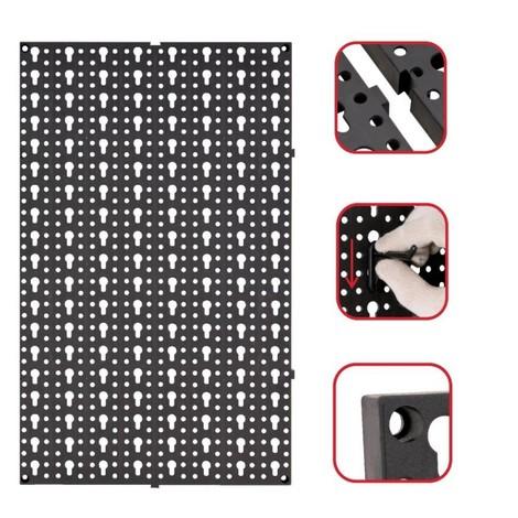Lot de 2 panneaux muraux perforés emboîtables + crochets