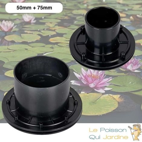 Lot De 2 Passe-Parois, VIS INOX PVC 50 + 75 mm, Pour Bassins De Jardin