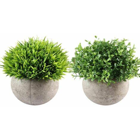 Lot de 2 Petite Boule de Fleur Artificielle Bonsaï Plante Quatre Couches d'herbe et Herbe à l'aiguille Boule Pot pour Déco