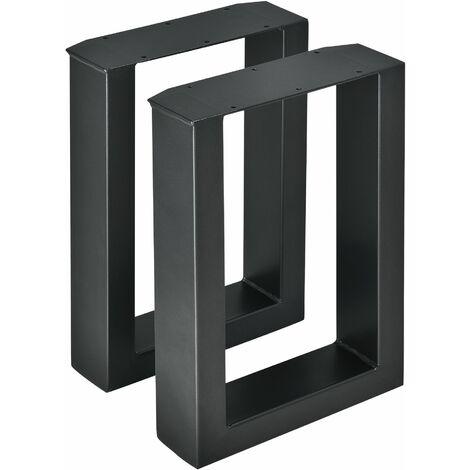 Lot de 2 pieds de table de meuble rectangulaire métal 30 x 43 cm noir - Métal