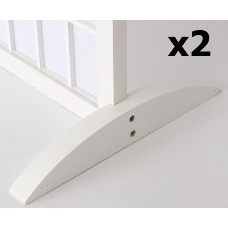 Lot de 2 pieds pour paravent en bois blanc - 2.8 x 33 x 0.8 cm