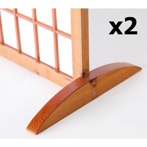 Lot de 2 pieds pour paravent en bois brun - 2.8 x 33 x 0.8 cm