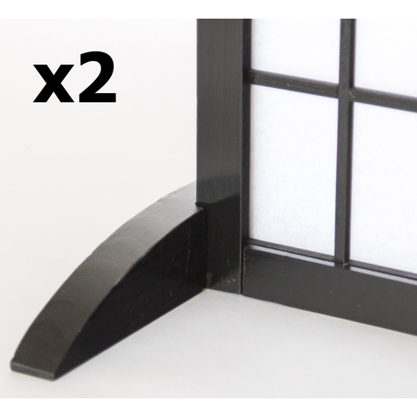 Lot de 2 pieds pour paravent en bois noir - 2.8 x 33 x 0.8 cm