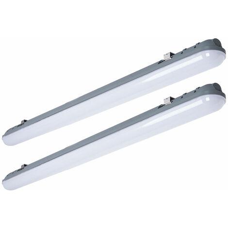 Lot de 2 plafonniers LED 48W baignoires lampes tubes atelier éclairage jour projecteurs industriels