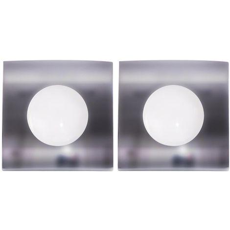 Lot de 2 plafonniers LED à encastrer, dimmable, carré, L 8,2 cm