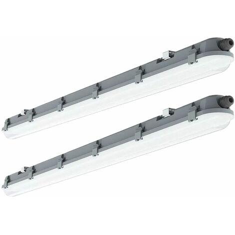 Lot de 2 plafonniers LED longueur 120cm 4000 Kelvin, 4320 lumens Luminaire humide et humide adapté au garage, cave, atelier, hall, entrepôt, bureau, industrie