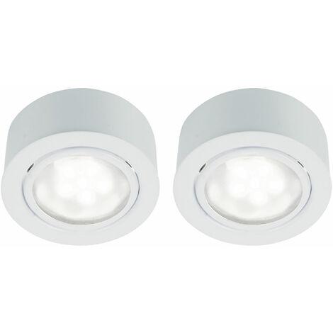 Lot de 2 plafonniers LED spots encastrés salon salle de bain éclairage lampes rondes blanc