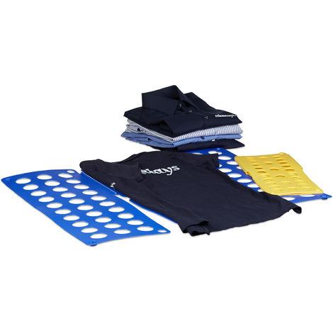 Lot de 2 planches Plie chemise Planche à plier grande/ moyenne ménage Repassage jaune/ bleu pliage format A4 / A5, bleu et jaune