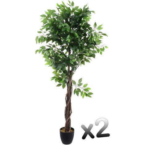 Lot de 2 plantes artificielles Ficus Pot Hauteur 180 cm