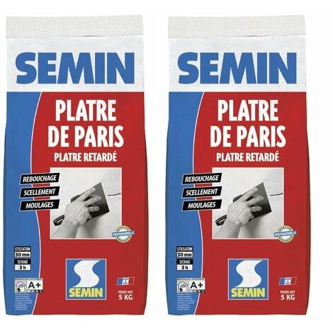 Lot de 2 plâtre de Paris pour moulages, scellements et rebouchage Semin - intérieur - sac de 5 kg