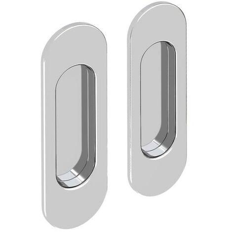 Lot de 2 poignées à encastrer ovales, acier finition chromé - Argent
