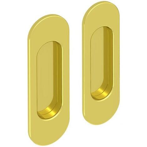 Lot de 2 poignées à encastrer ovales, acier finition doré - Or