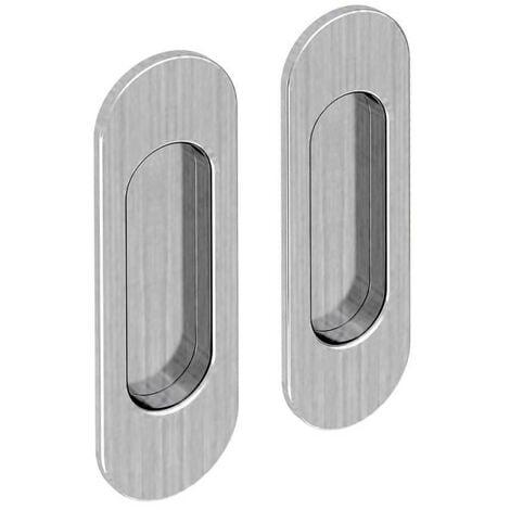 Lot de 2 poignées à encastrer ovales, acier finition satiné - Argent