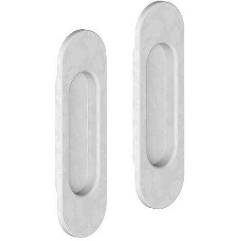 Lot de 2 poignées à encastrer ovales, plastique finition acier blanc - Blanc
