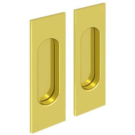 Lot de 2 poignées à encastrer rectangulaires, acier finition doré - Or