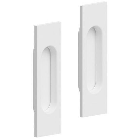 Lot de 2 poignées à encastrer rectangulaires, plastique finition acier blanc - Blanc