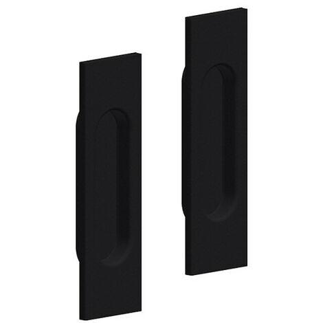 Lot de 2 poignées à encastrer rectangulaires, plastique finition acier noir - Noir