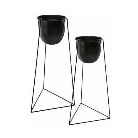"""main image of """"Lot de 2 pots noirs avec supports en métal de tailles différentes - Noir - Livraison gratuite"""""""