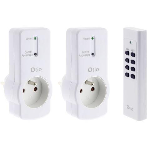Lot de 2 prises 16A 2P+T télécommandées avec télécommande - Otio