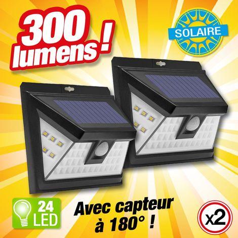 Lot de 2 - Projecteur à énergie solaire et détecteur de mouvement - 24 LED