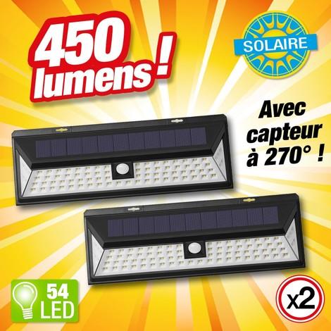 Lot de 2 - PROJECTEUR SOLAIRE DETECTEUR DE MOUVEMENTS - 54 LED