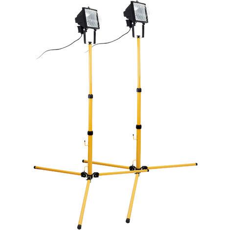 Lot de 2 Projecteurs halogènse 400W Jaune Chantier sur trépied - IP54 NF
