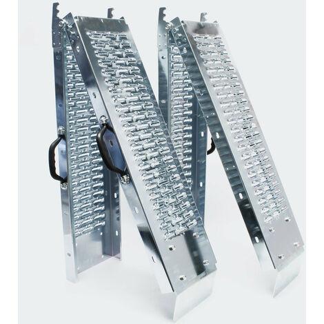 Lot de 2 rampes de chargement multi-usage pliante acier galvanisé rail collision 180 x 22,5 cm jusqu'a 400kg gris - Gris