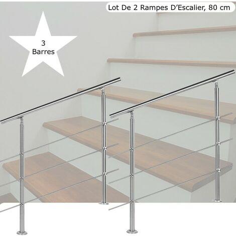 Lot de 2 Rampes D'Escalier Sur Pied, 80cm, Acier Inoxydable, 3 Barres - Acier