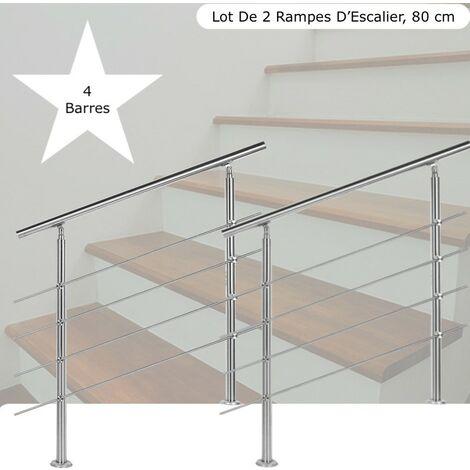 Lot de 2 : Rampes D'Escalier Sur Pied, 80cm, Acier Inoxydable, 4 barres - Acier