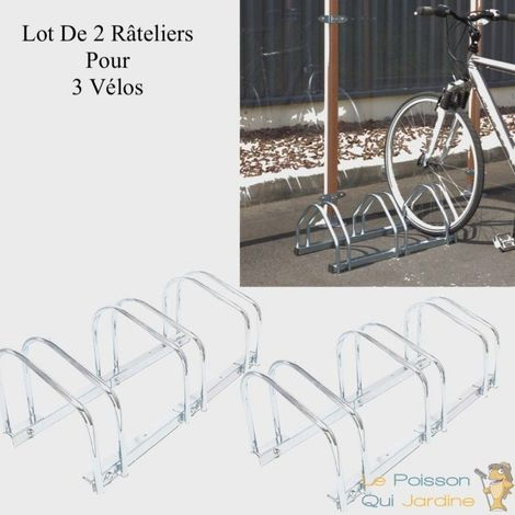 Lot De 2 : Ràtelier 3 Vélos Avec Fixation Au Sol, Long. 71cm, 1 Niveau