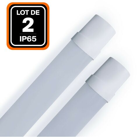 LOT DE 2 RÉGLETTES LED 36W 120CM ÉTANCHE IP65 BLANC FROID