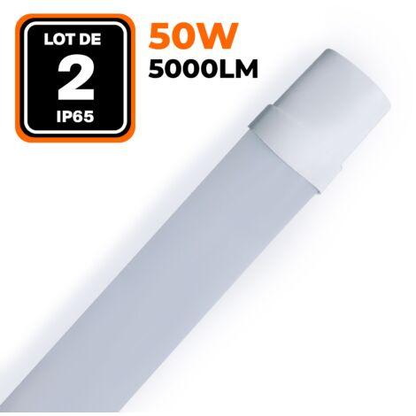 LOT DE 2 RÉGLETTES LED 50W 5000LM 60CM ÉTANCHE IP65