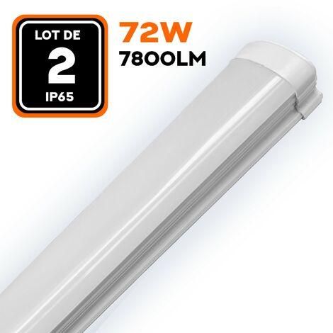 LOT DE 2 RÉGLETTES LED 80W 8000LM 120CM ÉTANCHE IP65