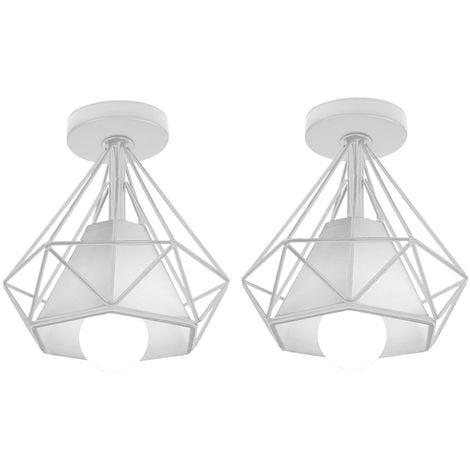 Lot de 2 Retro Plafonnier Industrielle Cage en forme Diamant en Métal Fer Lustre Suspension Luminaire pour Salon Chambre Cuisine (Blanc)