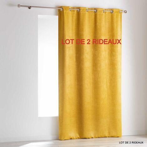 Lot de 2 rideaux a oeillets 140 x 240 cm occultant velours frappe opacia Jaune