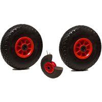 LOT de 2 roues diables increvables 260 x 85 alésage 20 mm (3.00-4) à rouleaux ch150 Kg