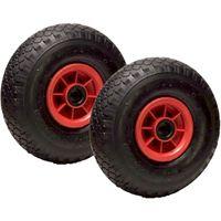 LOT de 2 roues gonflables diable 260 x 85 alésage 20 mm (3.00-4) à rouleaux ch270 Kg