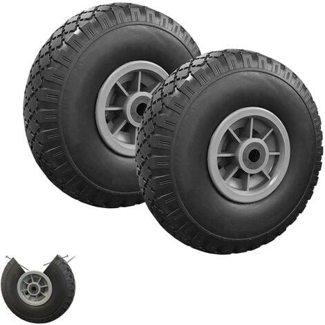 Lot de 2 roues increvables 250mm pour diable chariot alésage axe 16mm