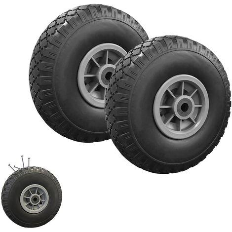 Lot de 2 roues increvables 250mm pour diable chariot alésage axe 20mm