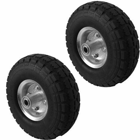Lot de 2 roues increvables pour chariot 26 x 8.5 cm, axe 16 mm - Noir - Linxor