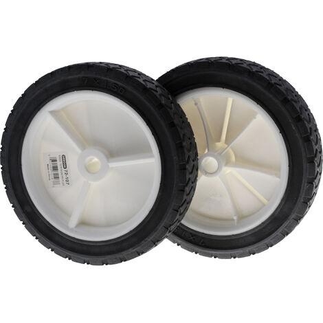 Lot de 2 roues pour tondeuse à gazon diamètre 175mm alésage 12.7mm