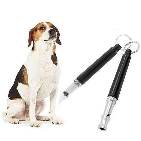 Lot de 2 sifflets pour chien à pas réglable avec 2 lanières Strapto, arrêt des aboiements, outil de formation à ultrasons Contrôle des aboiements pour chiens