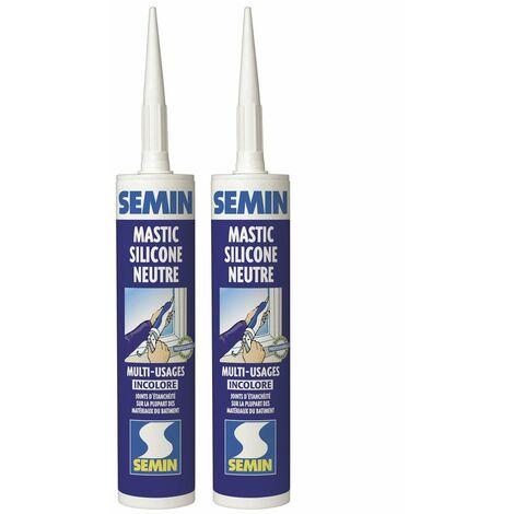 Lot de 2 silicones neutre PVC incolore multi usages pour les Joints d'étanchéité et de dilatation Semin - intérieur/extérieur - cartouche de 310 ml