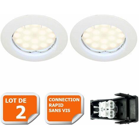 LOT DE 2 SPOT LED COMPLETE RONDE FIXE eq. 50W BLANC CHAUD