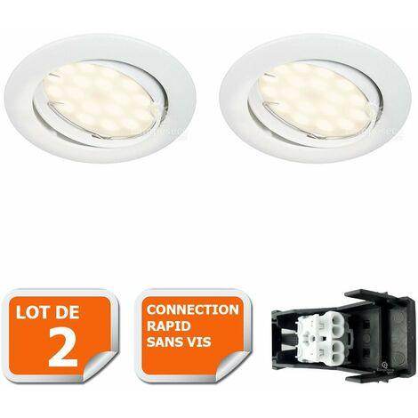LOT DE 2 SPOT LED ENCASTRABLE COMPLETE ORIENTABLE BLANC AVEC AMPOULE GU10 230V eq. 50W, LUMIERE BLANC NEUTRE
