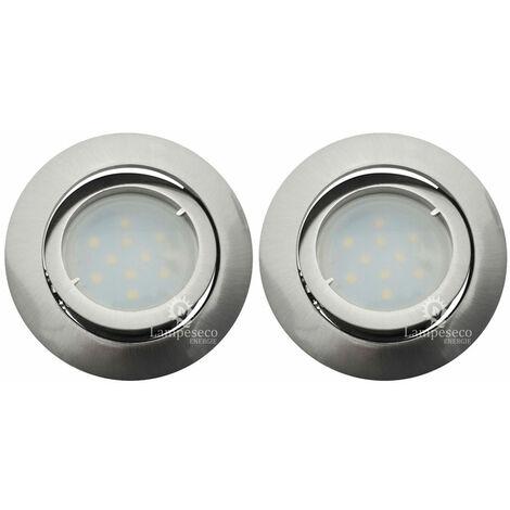 Lot de 2 Spot Led Encastrable Complete Satin Orientable lumière Blanc Chaud eq. 50W ref.209